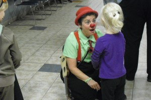 Slappy the Clown tells stories to the children.